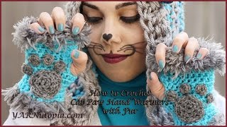 How to Crochet Cat Paw Hand Warmers with Fur