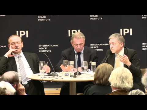 Yasser Abed Rabbo and Yossi Beilin at IPI discuss Israel Palestine Peace Process