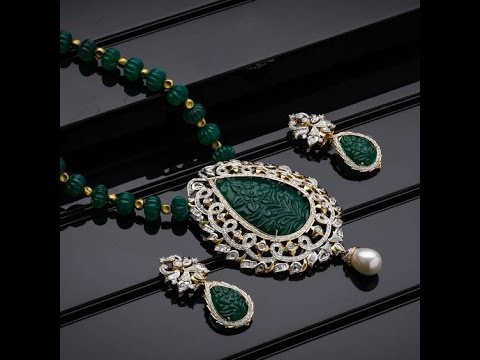 South Indian Ruby Emerald Beads Necklace Sets Youtube