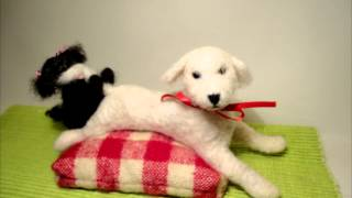 Needle Felted Wool Puppies Are Playing
