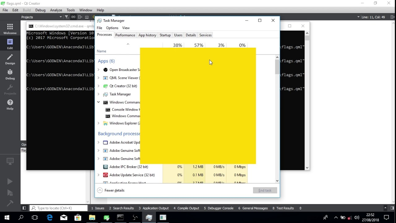 Flags - Frameless window with taskbar button in Qml