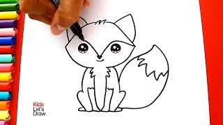Cómo dibujar y colorear un ZORRO Kawaii de manera fácil | Aprender a Dibujar | KidsLetsDraw