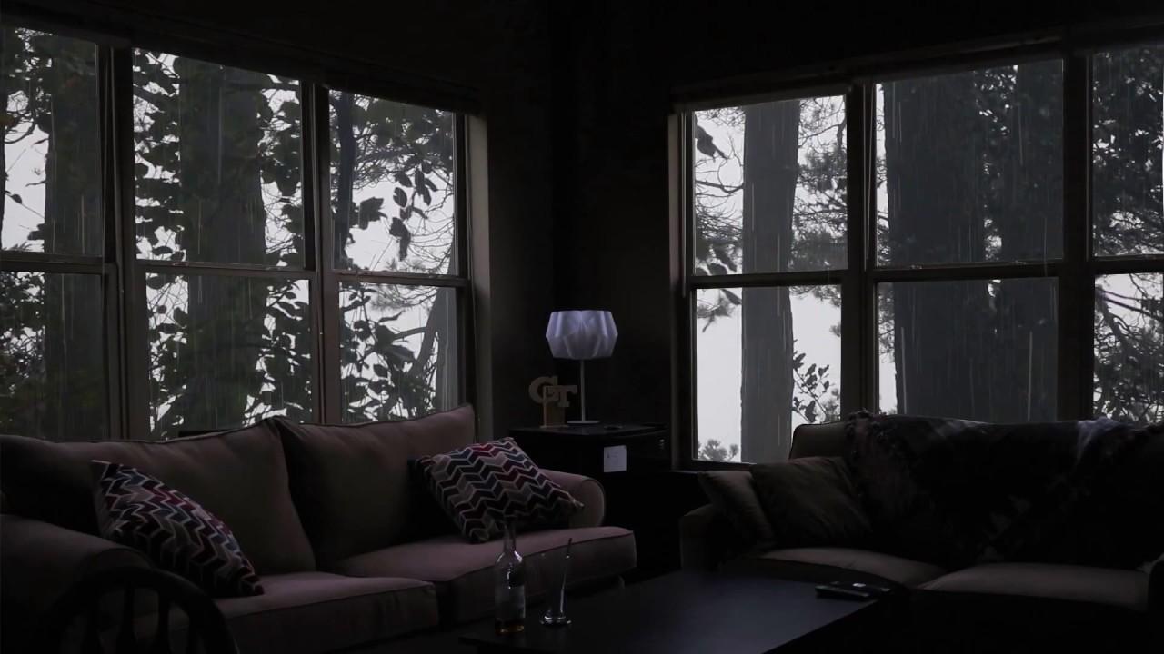 Calming rain in cozy living room ambience - Raining in the