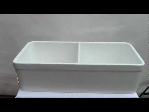 Double Bowl Fireclay Farmhouse Sink AB512 White Or Biscuit Colors