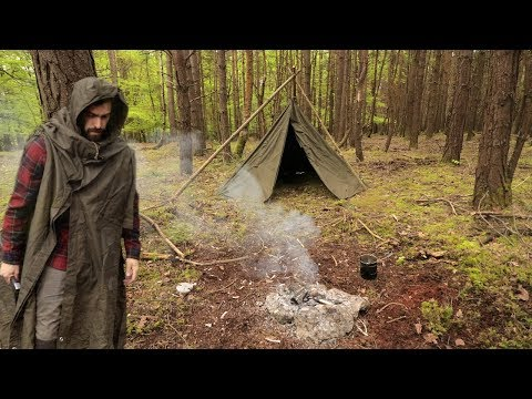 Camping in the Woods in a Military Poncho Tent
