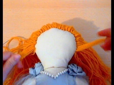 Как пришить тильде волосы из ниток