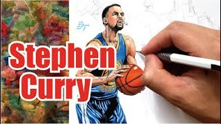 Drawing technique, Stephen Curry  - Golden State Warriors - thumbnail
