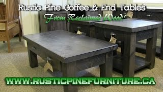 Rustic Pine Coffee & End Tables, from reclaimed wood in elm or pine, Mennonite Furniture Sharon.
