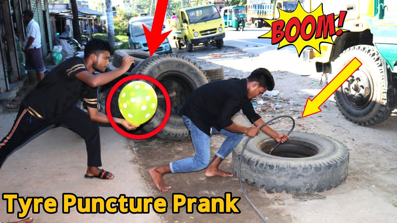Download Tyre Puncture Prank With Popping Balloons    Watch The Reaction With Popping Balloons Prank !!