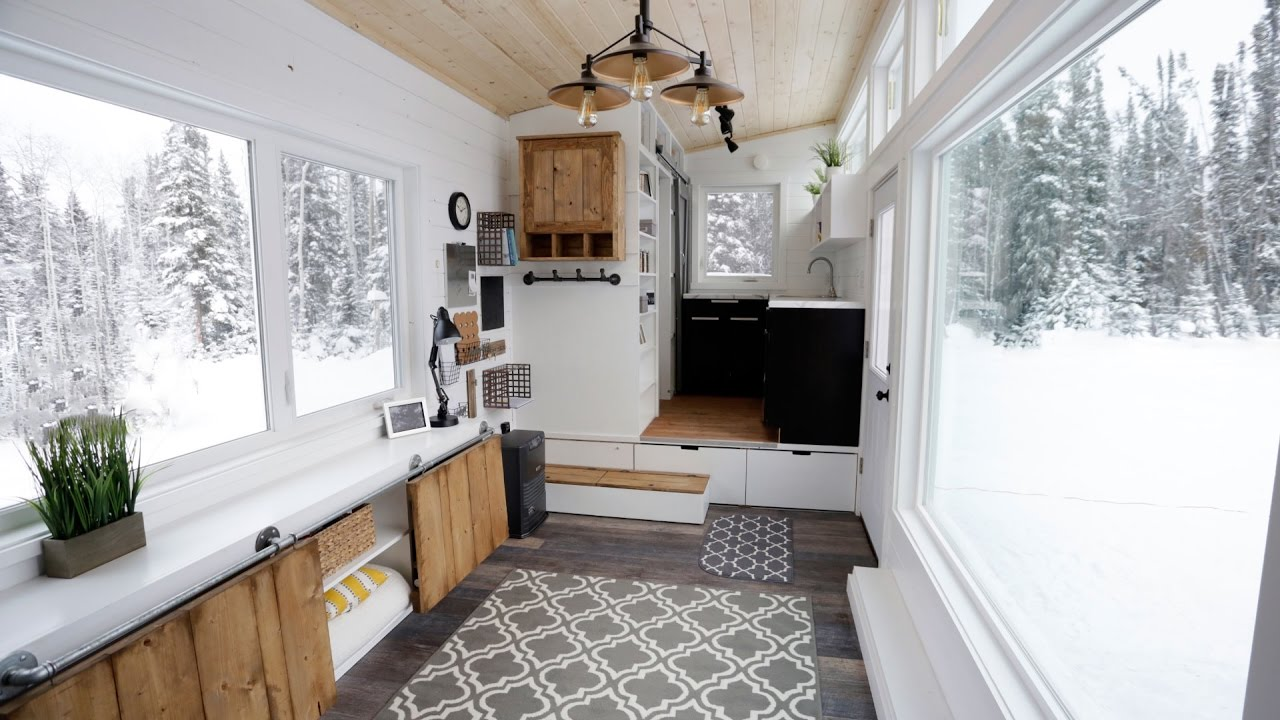 Open Concept Modern Tiny House With Elevator Bed Anawhite