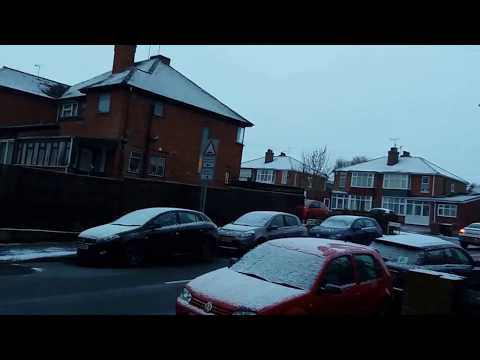 Snowfall at Leamington and Warwick|United Kingdom|Cars and Road Covered with Snow