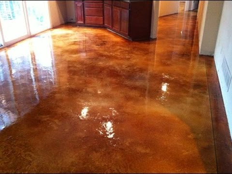 Decorative Concrete Acid Stained Basement Floor Epoxy
