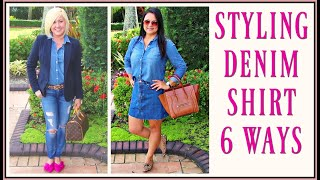 Fall Outfit Trends 2018 for Women over 40 | How to Style A Chambray Shirt Lookbook