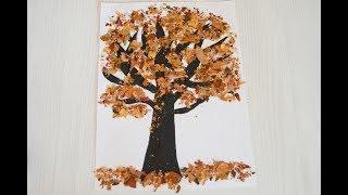 """Аплікація """"Осіннє дерево"""" із справжнього листя"""
