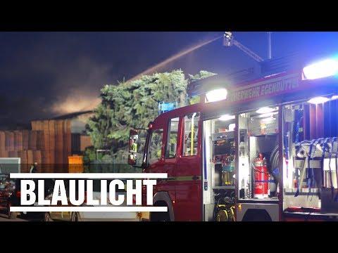 Großbäckerei und Palettenlager in Flammen - Brand bei Hamburg