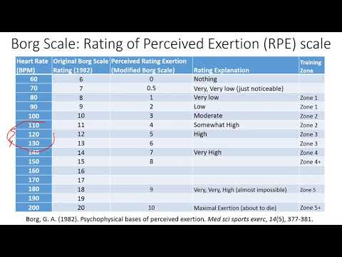 Borg Rating of Perceived Exertion RPE scale Application Example