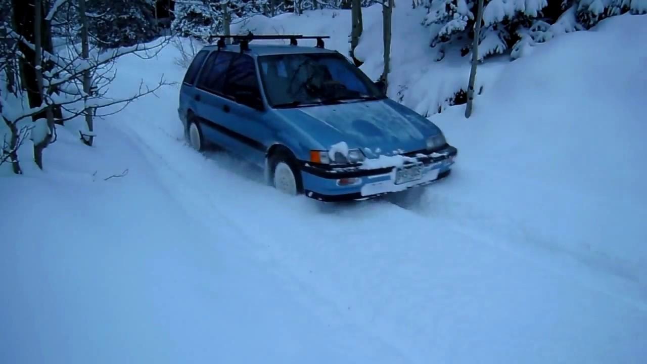 honda civic rt4wd 8 snow leaving driveway stuck for 45sec  [ 1280 x 720 Pixel ]