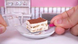 Miniature tiramisu dessert - mini food ASMR
