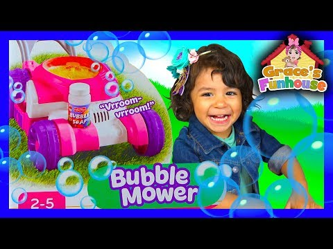 BUBBLE MOWER Toy Review In 4K UHD, Cute Bubbles, Egg Surprise Toy, Funny Dad & Funny Bloopers