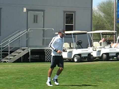 Federer kicking soccer ball Indian Wells Tennis garden March 12 2009