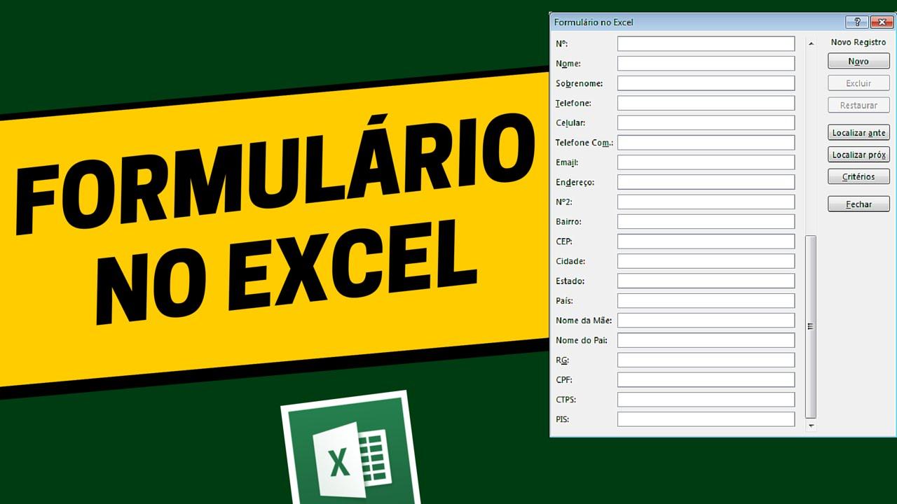 Criando Formulario De Cadastro No Excel