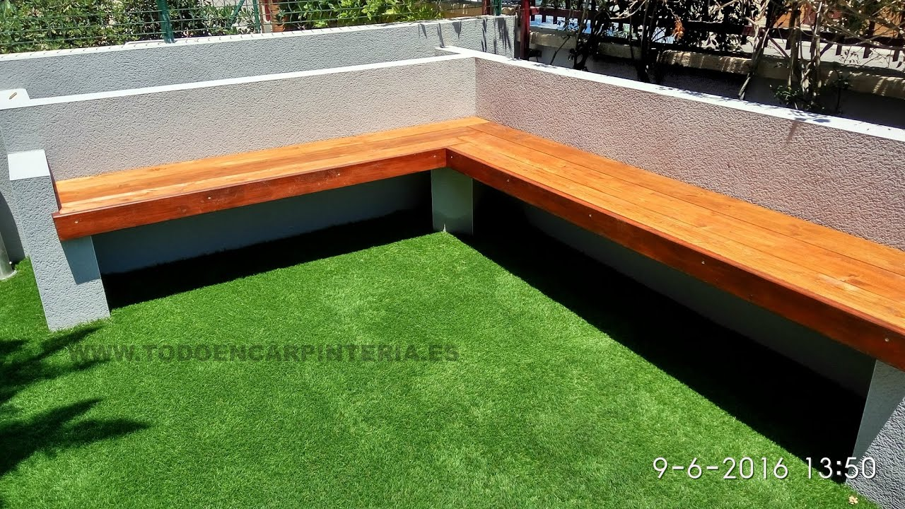 Banco de jard n de madera y obra youtube for Bancos jardin