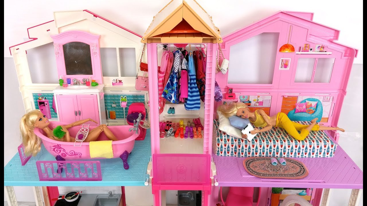 Barbie House Morning Routine Bedroom Bathroom باربي البيت الصباح ...