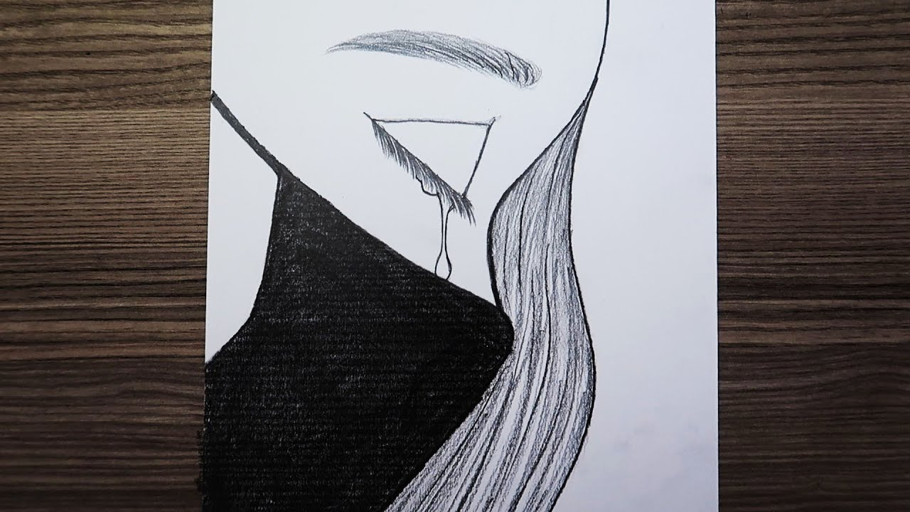Şemsiyeli Kız Çizimi - Drawing Girl with Umbrella