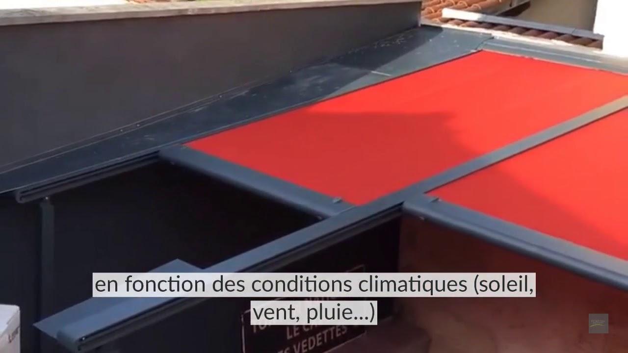 installation pergola store markilux - exemple de couverture terrasse  restaurant bordeaux
