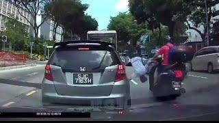 16jun2018 jaywalk hit & send flying by motorbike.