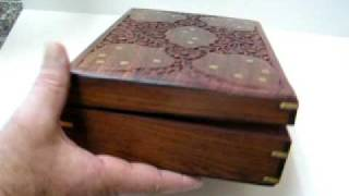 Vintage Mahogany Wood Jewelry Box Hand Carved NIB 12