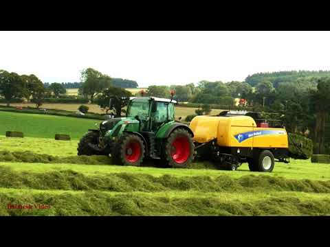 Haylage-Making with TWO Big Square Balers - New Holland and Fendt Action.