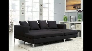 Black Fabric Sectional Sofa