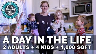 A DAY IN THE LIFE!!! 2 Adults + 4 Kids + 2 Bedrooms! #Dayinthelife #Livesimplelivehappy
