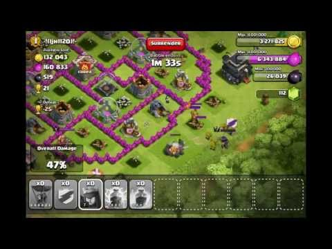 Clash Of Clans - All Level 6 Rage Balloon Attack