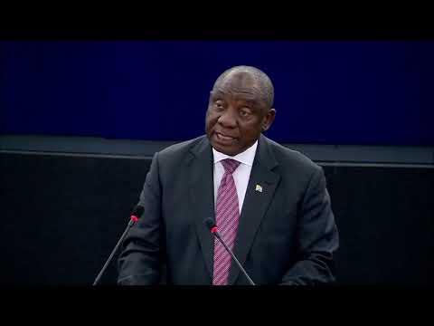 President Cyril Ramaphosa addresses the European Parliament
