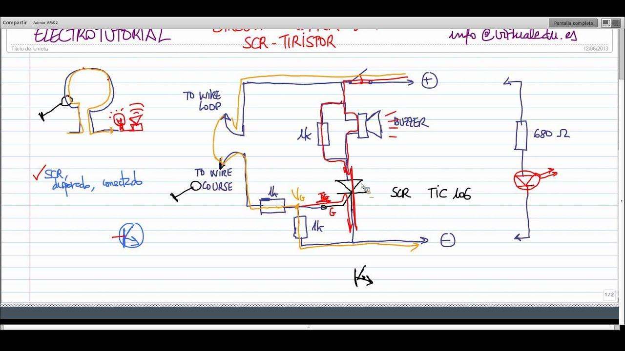 Circuito Com Scr Tic 106 : Electrotutorial alarm loop scr youtube
