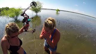 Bowfishing Girl gets first fish with a bow