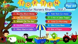 Top 10 - Ten Most Popular Nursery Rhymes Jukebox Vol. 1 with Lyrics (Subtitles) and Action