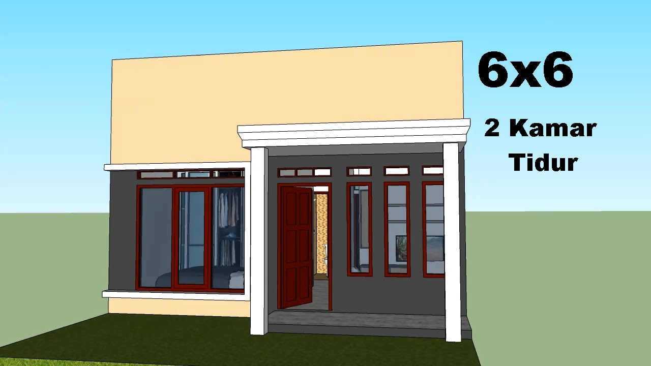 Desain Rumah Minimalis Ukuran 6x6 Meter 2 Kamar Tidur Youtube