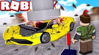 QUEBREI CARROS NOVOS NO ROBLOX!! (Roblox Car crushers 2)