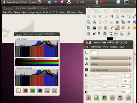 scanning with ubuntu and gimp, escaneando con ubuntu y gimp (linux)