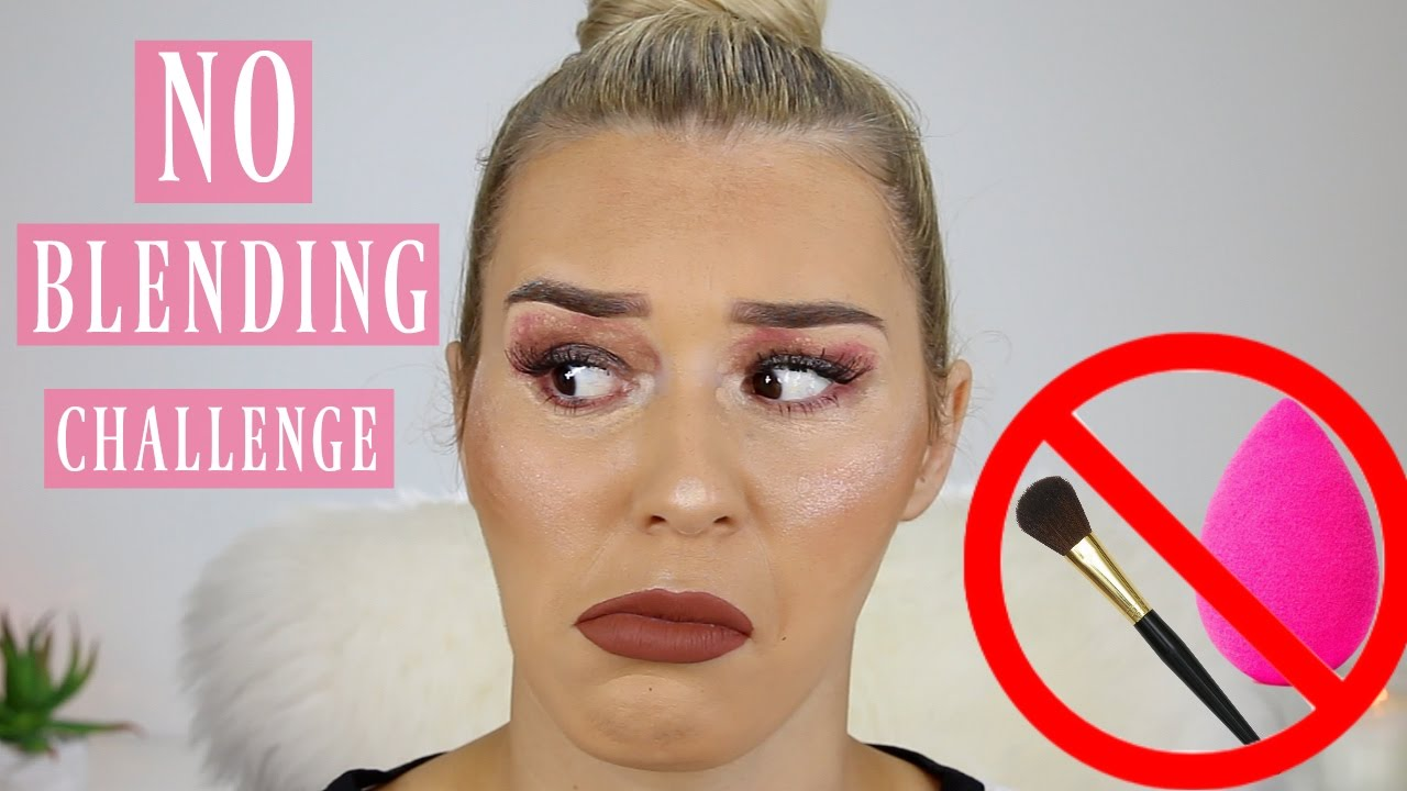 db1168bff2d Full Face Of Makeup WITHOUT BLENDING Challenge - YouTube