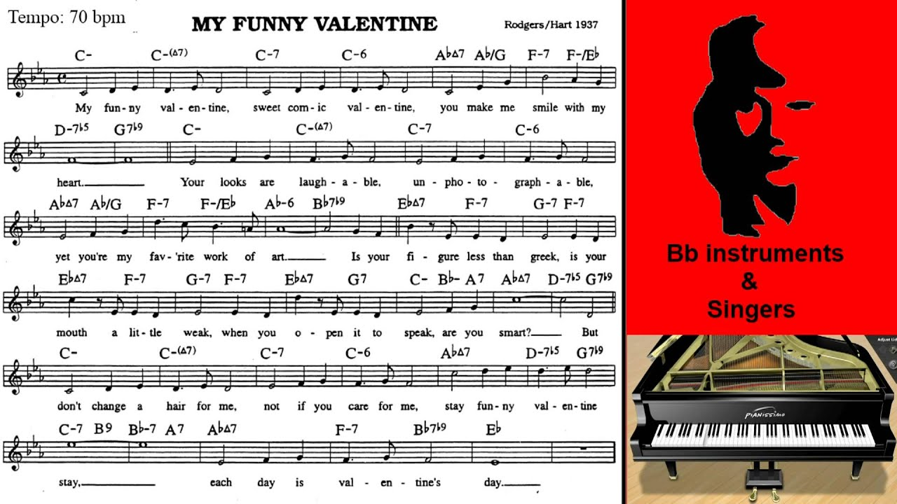 Schön My Funny Valentine 70 Bpm Playalong For Singers And Bb Instruments
