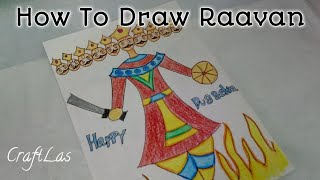 Draw And Colour Raavan For Dussehra | How To | DUSSEHRA Drawings | CraftLas
