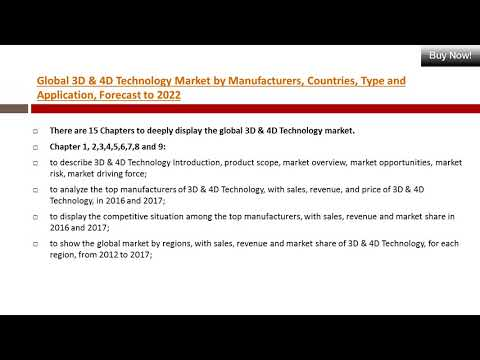 Global 3D & 4D Technology Demand & Growth in Market Sales Forecast by Regions (2017-2022)