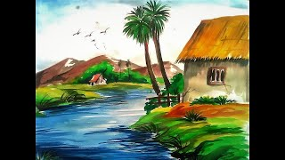 Natural painting,nature in water colour,water colour painting scenery,best painting