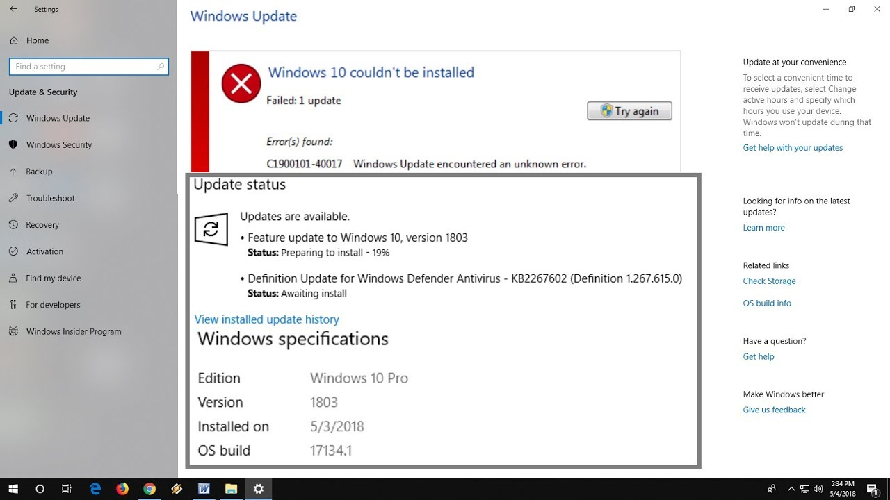feature update to windows 10 version 1803 stuck