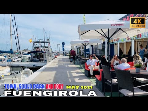 FUENGIROLA TOWN, SOULD PARK AND PORT WALK TOUR IN MAY 2021 - Malaga, Costa Del Sol🌞 Spain [4K]