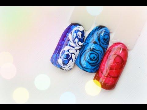 Весенний дизайн ногтей по мокрому гель-лаку маникюр цветок, веточка гель-лаки naomi видео уроки дизайна ногтей.